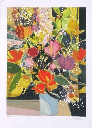 Litografía Hilaire - Bouquet de tulipes