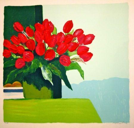 Litografía Muhl - Bouquet de tulipes rouges