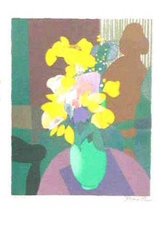 Litografía Defossez - Bouquet et ombre de femme
