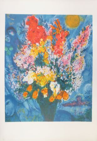 Litografía Chagall - Bouquet illuminant le ciel