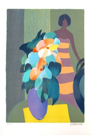 Litografía Defossez - Bouquet Vert