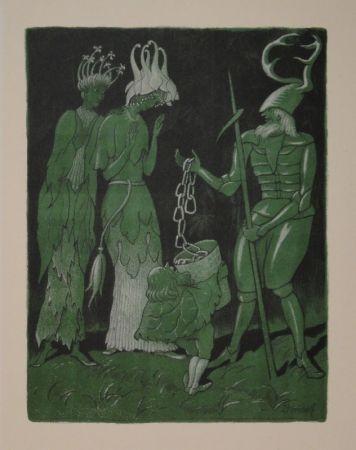 Litografía Kreidolf - Brautwerbung. Käfer-Ritter, von einem Zwerg begleitet, wirbt mit einer Kette um das Akelei- und Rapunzel-Fräulein.