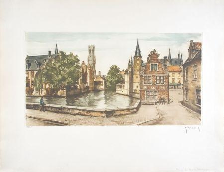 Aguafuerte Hebbelinck - Bruges : Les Ducs de Bourgogne