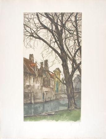 Aguafuerte Hebbelinck - Bruges : Les grands arbres du Béguinage.