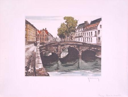 Aguafuerte Hebbelinck - Bruges : Pont des Augustins