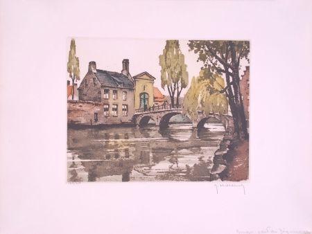Aguafuerte Hebbelinck - Bruges : Pont du Béguinage.
