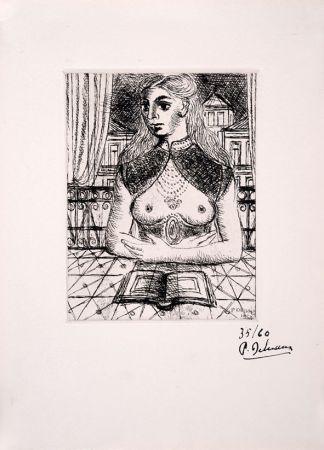Aguafuerte Delvaux - Buste de Femme III