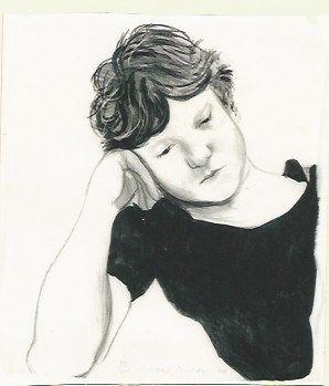 Litografía Hockney - Byron on hand