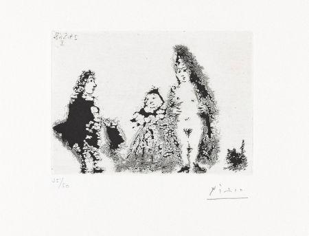 Aguatinta Picasso - CÉLESTINE ET FILLE AVEC UN CHAT ET UN JEUNE CLIENT (24 mai 1968).