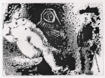 Aguatinta Picasso - Célestine, Fille et vieux client