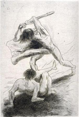Grabado Redon - Caïn et Abel