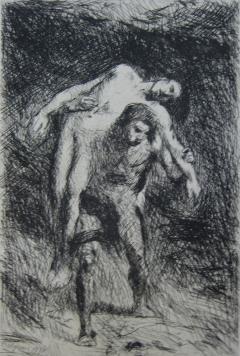 Grabado Falguière - Caïn et Abel
