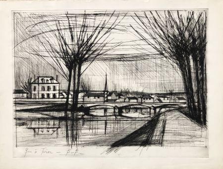 Grabado Buffet - Canal a Soissons