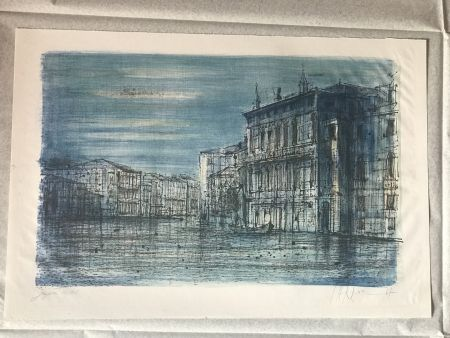 Litografía Carzou - Canal Venice with Gondola
