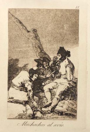 Aguafuerte Goya - Capricho 11. Muchachos al avio