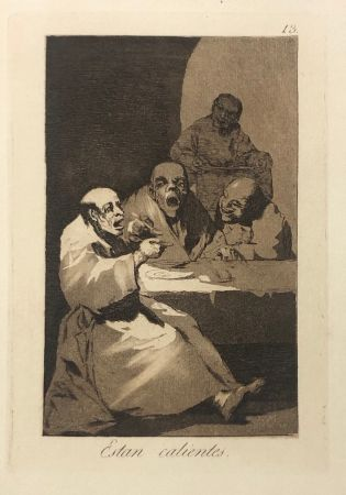 Aguafuerte Goya - Capricho 13. Están calientes