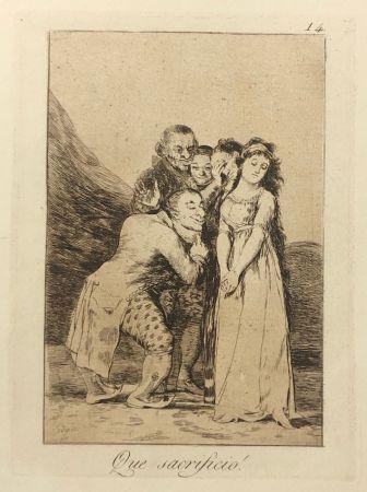 Aguafuerte Goya - Capricho 14. Que sacrificio