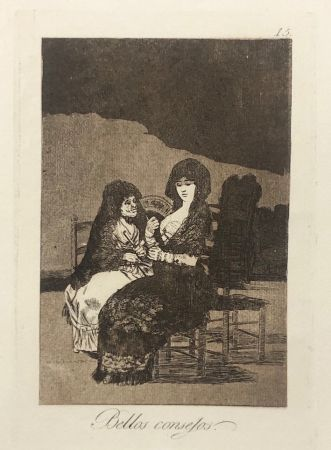 Aguafuerte Goya - Capricho 15. Bellos consejos