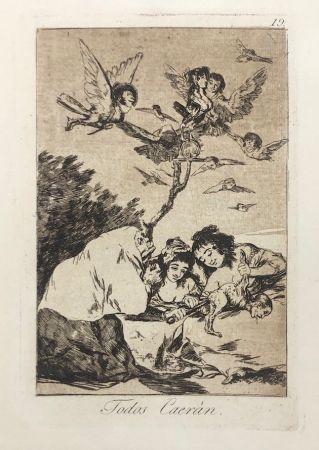 Aguafuerte Goya - Capricho 19. Todos Caerán