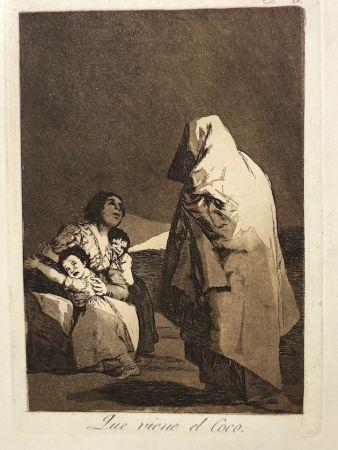 Aguafuerte Goya - Capricho 3. Que viene el coco