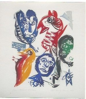 Aguatinta Pedersen - Carrousel d'oiseaux