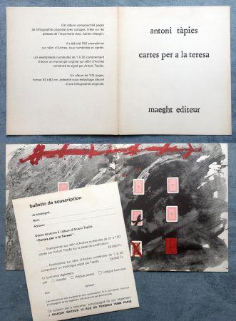 Offset Tàpies - CARTES PER A LA TERESA : Carton de présentation de l'ouvrage illustré de lithographies et collages (1976).