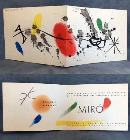 Litografía Miró - Carton d'invitation pour une exposition Miró à la Galerie Maeght. 1961.