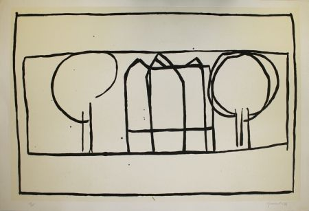 Aguatinta Hernandez Pijuan - Cases i arbres 2