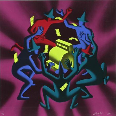 Serigrafía Kostabi - Cash Dance