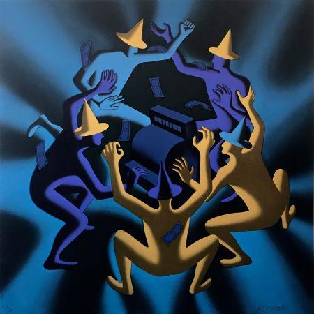 Serigrafía Kostabi - CASH DANCE (BLUE)
