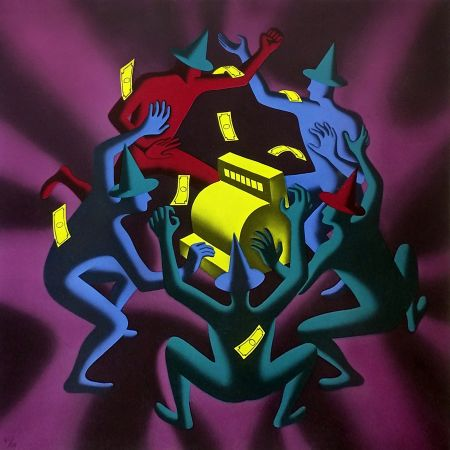 Serigrafía Kostabi - CASH DANCE (PURPLE)