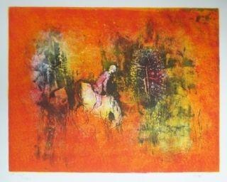 Litografía Lebadang - Cavalier dans la forêt