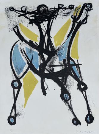 Litografía Marini - Cavalier et Cheval, Jeune et Blue, 1952