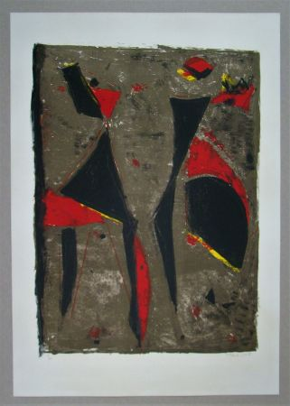 Litografía Marini - Cavalier noir et rouge sur fond brun