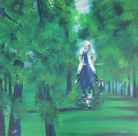 Litografía Spahn - Cavaliers dans la forêt