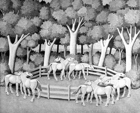Grabado En Madera Morena - Cavalli nel bosco
