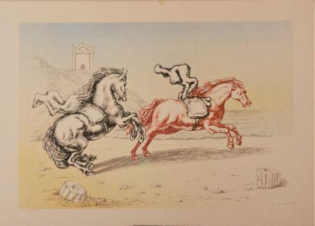 Litografía De Chirico - Cavalli sulla riva dell'Egeo