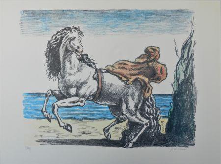 Litografía De Chirico - Cavallo con manto (seconda versione)