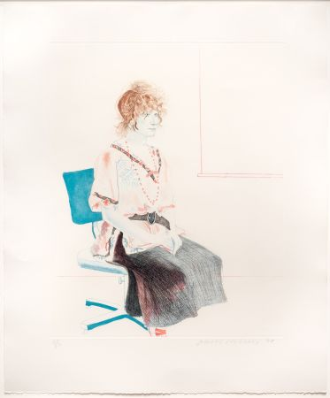 Aguafuerte Y Aguatinta Hockney - Celia Seated on an Office Chair