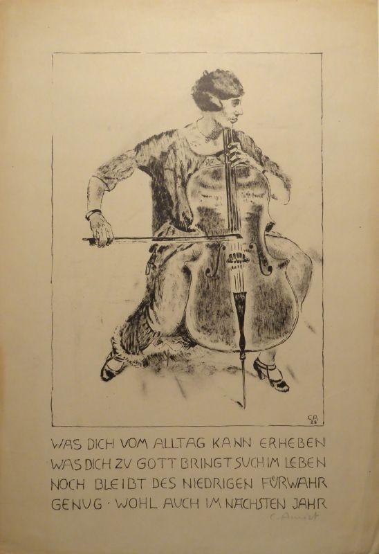 Litografía Amiet - Cello-Spielerin