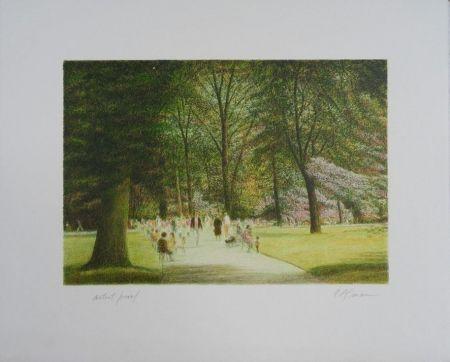 Litografía Altman - Central Park - Terrace Drive