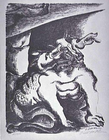 Litografía Zadkine - Cerbere