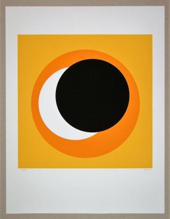 Serigrafía Claisse - Cercle noir sur fond orange
