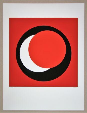 Serigrafía Claisse - Cercle rouge sur fond rouge foncé