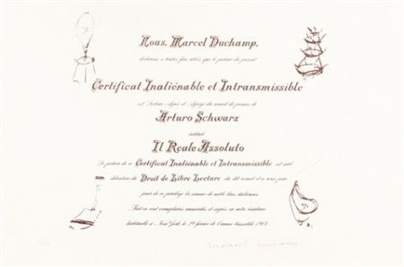 Litografía Duchamp - Certificat de Lecture