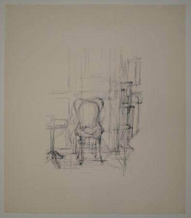 Litografía Giacometti - Chaise et guéridon.