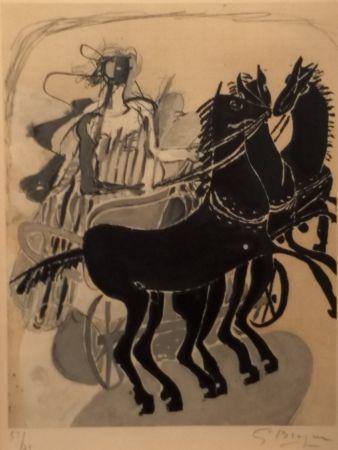 Litografía Braque - CHAR AUX CHEVAUX NOIR