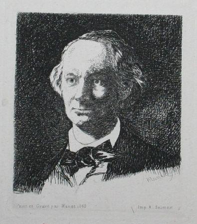 Grabado Manet - Charles Baudelaire, Full Face III
