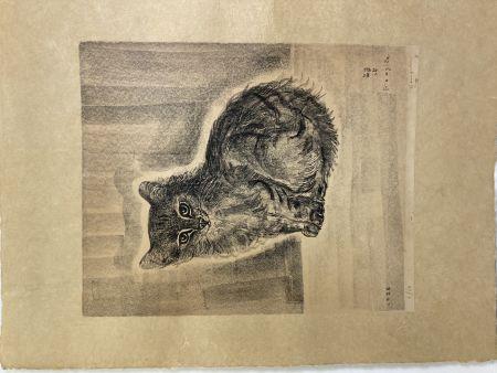 Litografía Foujita - Chat assis, 1926