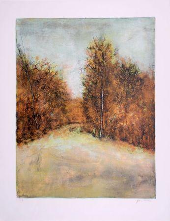 Litografía Gantner - Chemin en forêt - Forest path